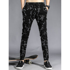 Men Brush Strokes Print Drawstring Pants