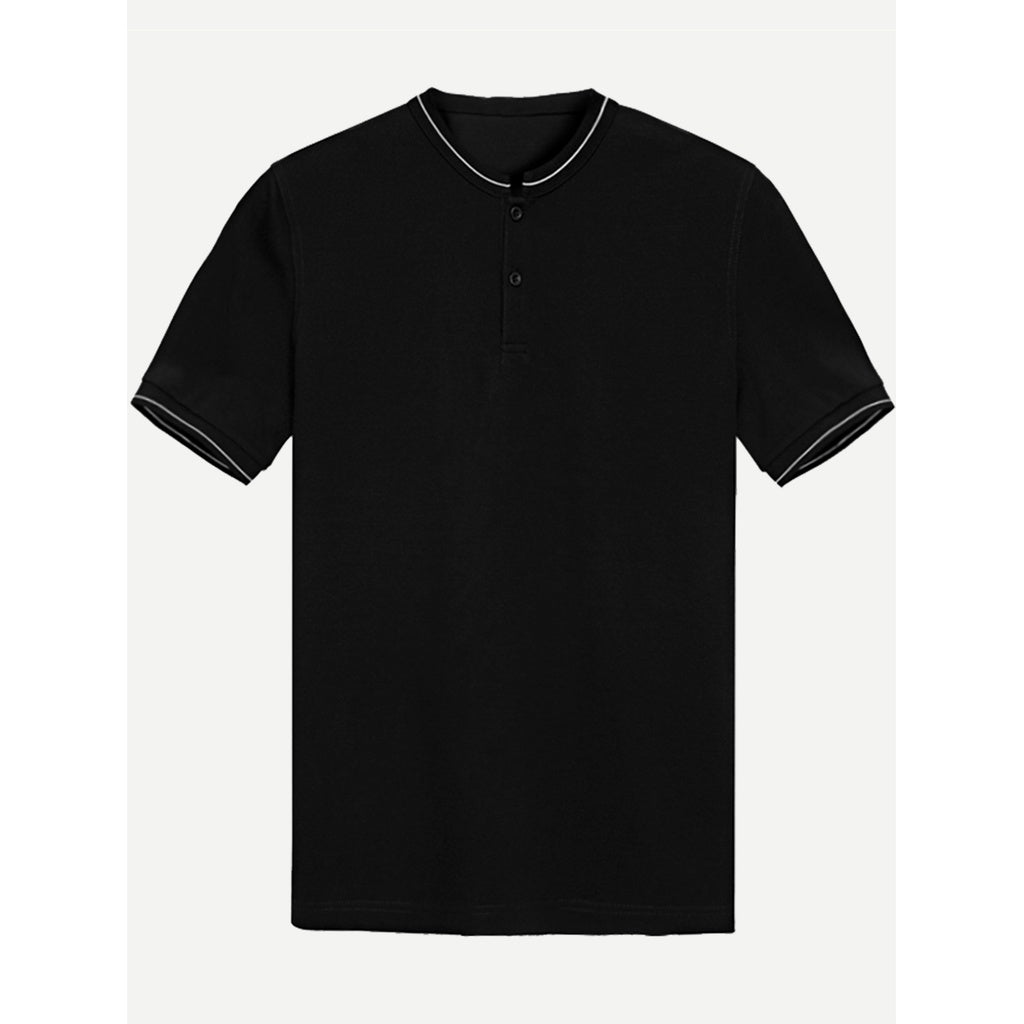 Men Ribbed Trim Tee