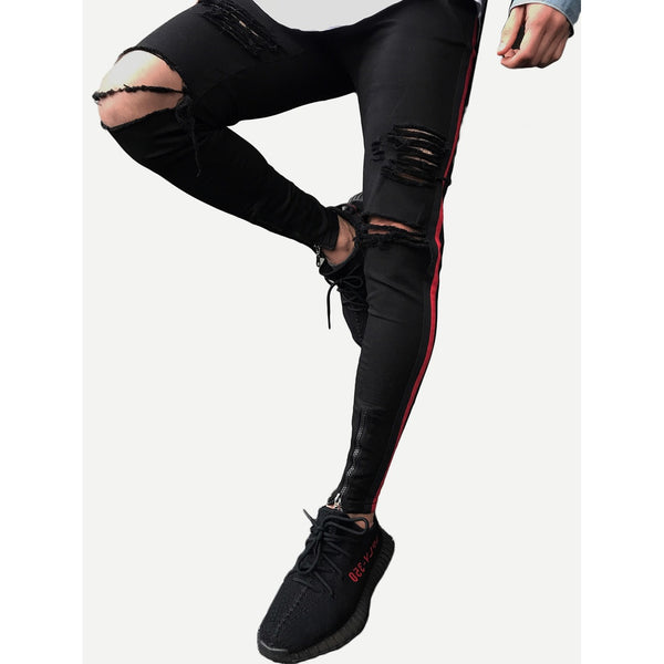 Men Zip Decoration Tape Destroyed Skinny Jeans