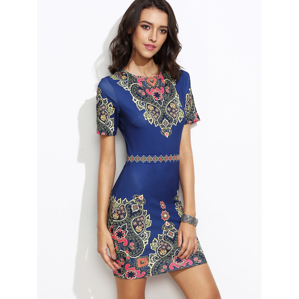 Ornate Print Fitted Dress