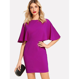 V Cut Out Back Batwing Sleeve Dress