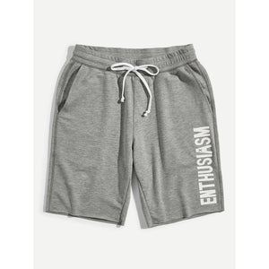 Men Letter Print Heather Grey Sweat Shorts