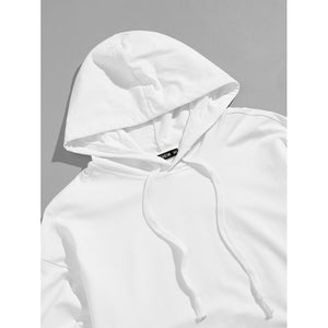 Men Embroidery Sleeve Pocket Hooded Sweatshirt