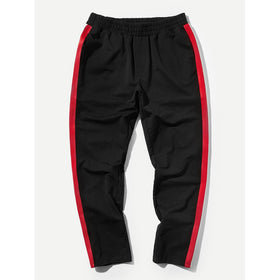 Men Striped Side Elastic Waist Pants