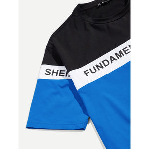 Men Letter Print Color Block Tee