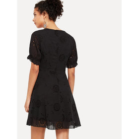 Ruffle Cuff Eyelet Embroidered Dress