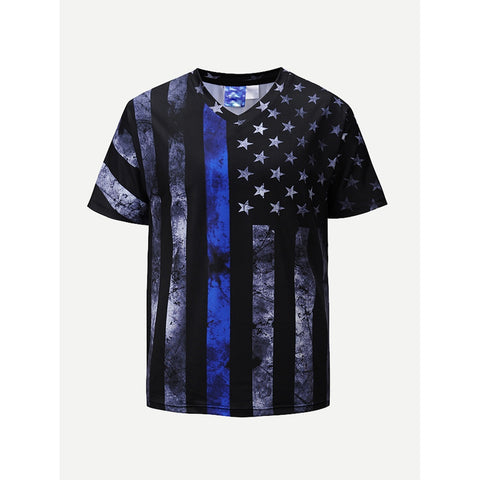 Men Star And Striped Print Tee