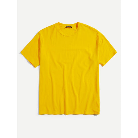 Men Plain Round Neck Tee