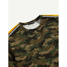 Men Striped Sleeve Camo T-shirt