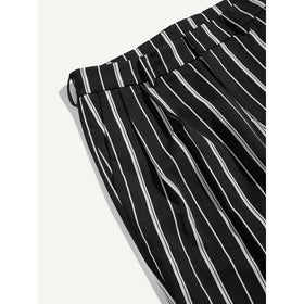 Men Pocket Back Striped Pants