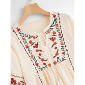 Floral Embroidered Frige Tie Neck Dress