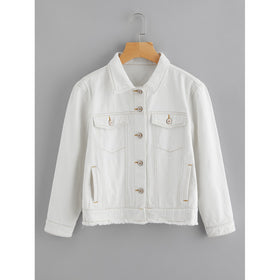 Light Wash Topstitch Frayed Denim Jacket