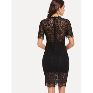 Eyelash Lace Overlay Pencil Dress
