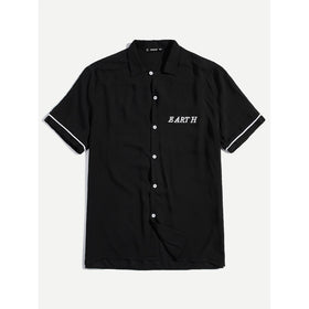Men Letter Embroidered Shirt