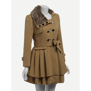 Contrast Faux Fur Collar Double Layered Hem Coat