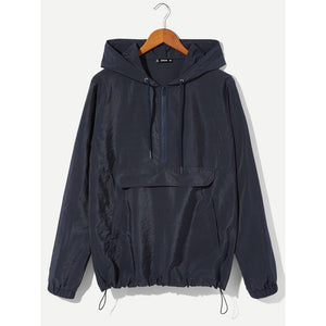 Men Zip and Pocket Front Drawstring Hooded Jacket