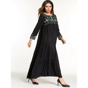 Tie Neck Floral Embroidered Longline Dress