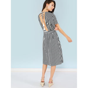 Pocket Patched Plunging Neck Striped Dress