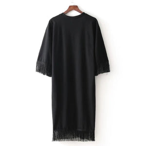 Fringe Trim Embroidery Dress