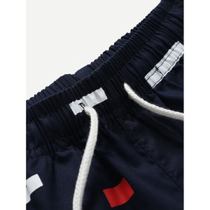 Men Colorful Striped Drawstring Shorts