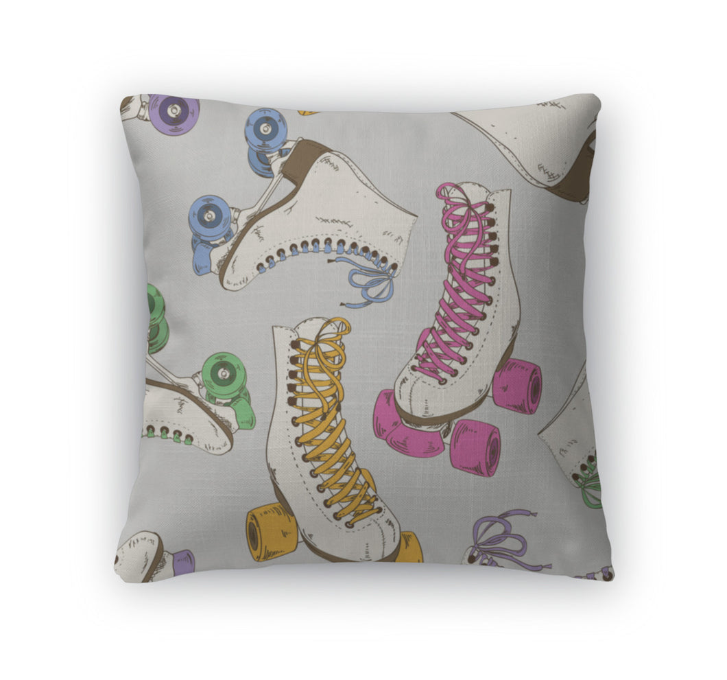 Throw Pillow, Pattern With Roller Skates
