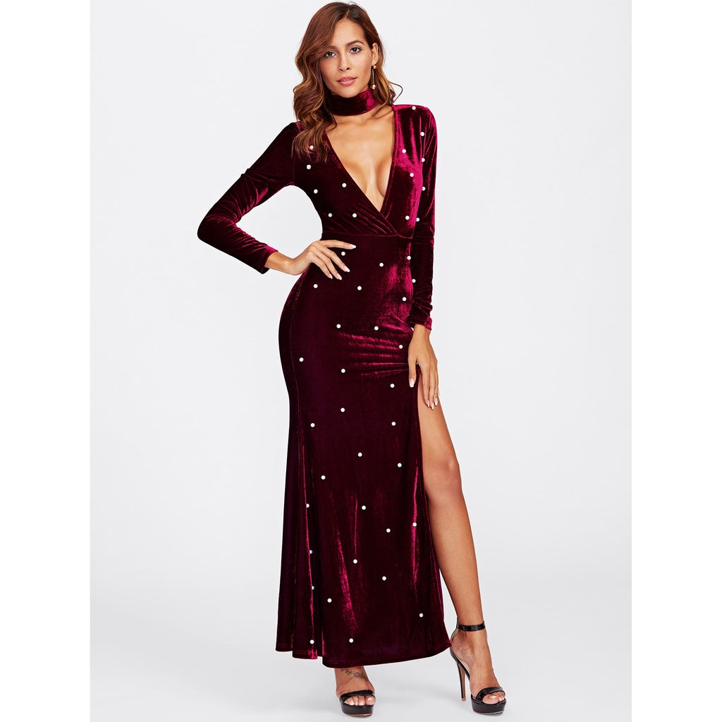 High Slit Plunging Velvet Dress With Neck Tie