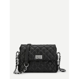 Twist Lock Quilted Chain Crossbody Bag