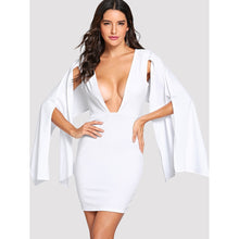 Deep V Neck Split Sleeve Dress