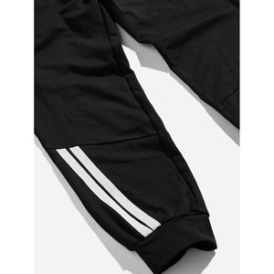 Men Drawstring Waist Pocket and Elastic Hem Pants