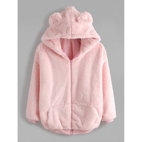 Pink Bear Ear Hooded Zipper Up Shaggy Coat