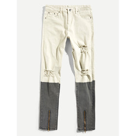 Men Zip Colorblock Destroyed Skinny Denim Pants