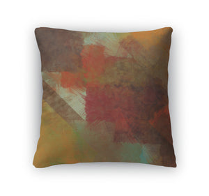 Throw Pillow, Art Abstract Acrylic And Pencil In Red Yellow Brown
