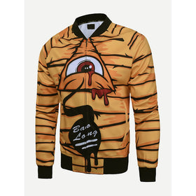 Men Tiger Pattern Letter Print Jacket