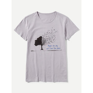 Men Tree And Letter Print Tee