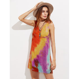 Knot Racerback Raw Edge Tie Dye Dress