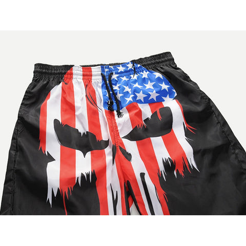 Men Star Print Striped Shorts