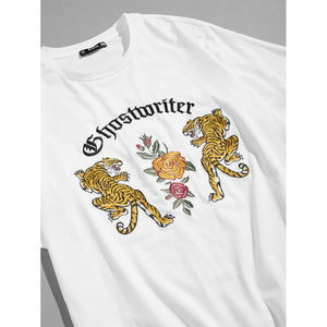 Men Embroidered Tiger and Flower Print Tee