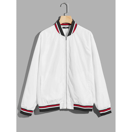 Men Stand Collar Stripe Trim Bomber Jacket