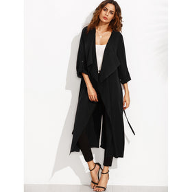 Rolled Up Sleeve Split Back Self Tie Outerwear