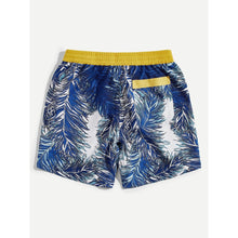 Men Contrast Waist Tropical Shorts