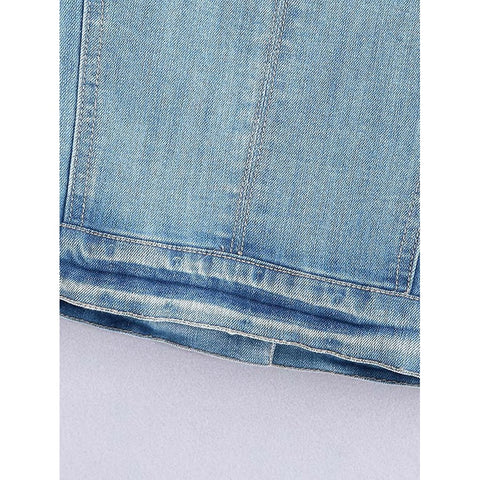 Frayed Trim Denim Vest