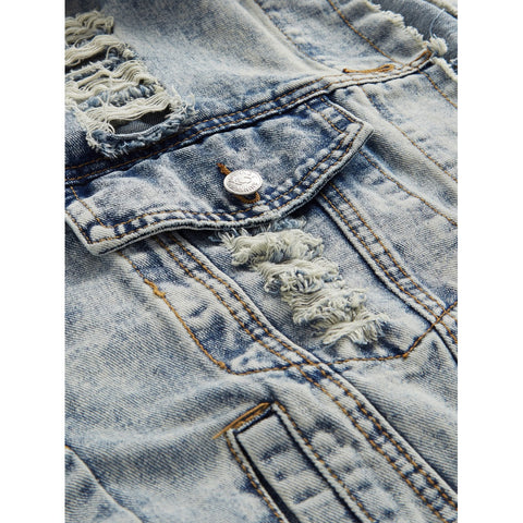 Distressed Bleach Wash Denim Jacket