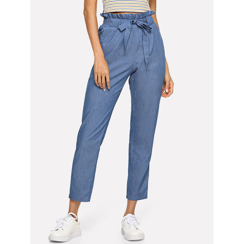 Belted Ruffle Waist Jeans