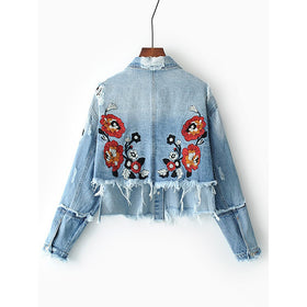 Flower Embroidery Frayed Detail High Low Denim Jacket