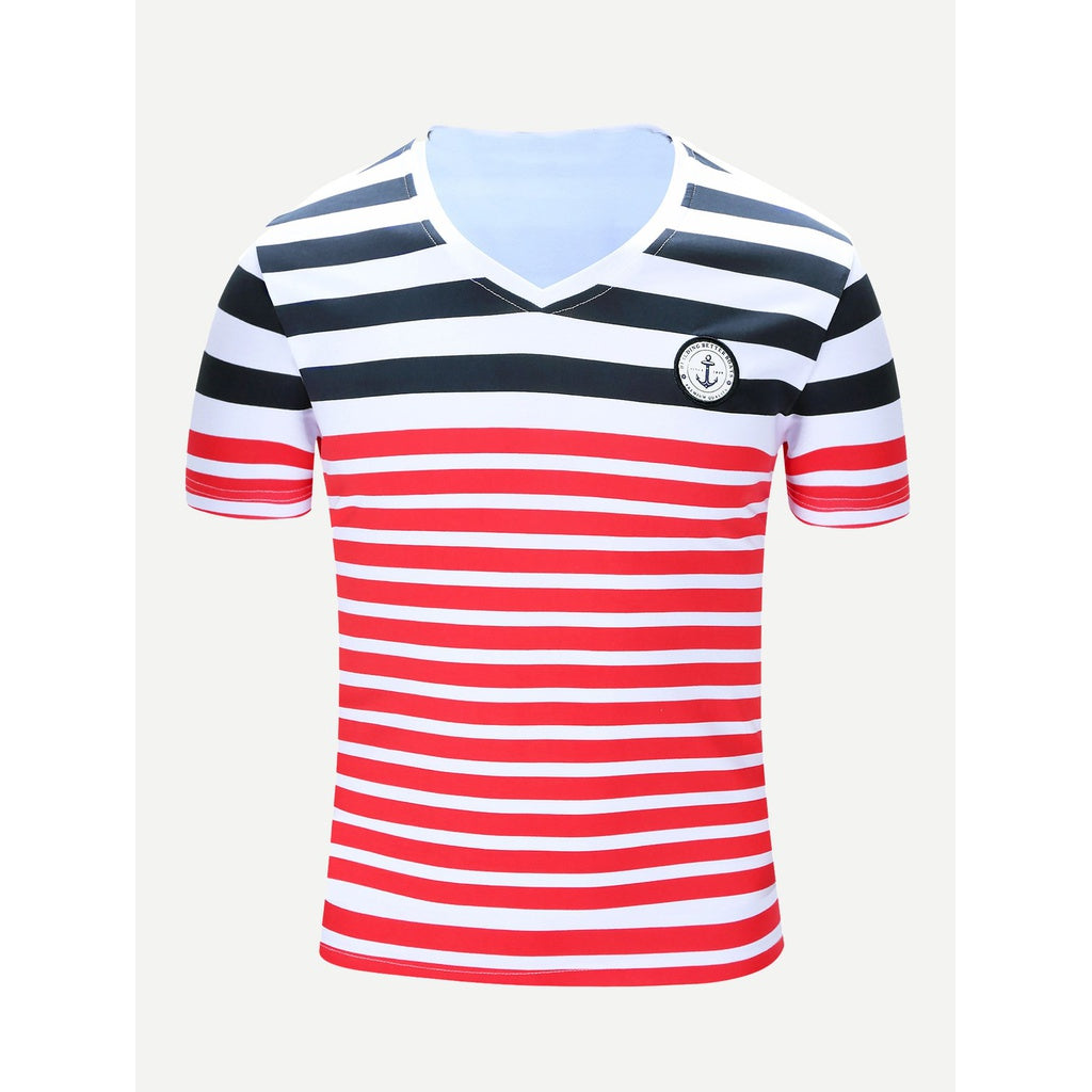 Men Patched Detail Striped T-shirt