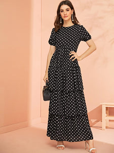 Puff Sleeve Layered Ruffle Hem Polka Dot Dress