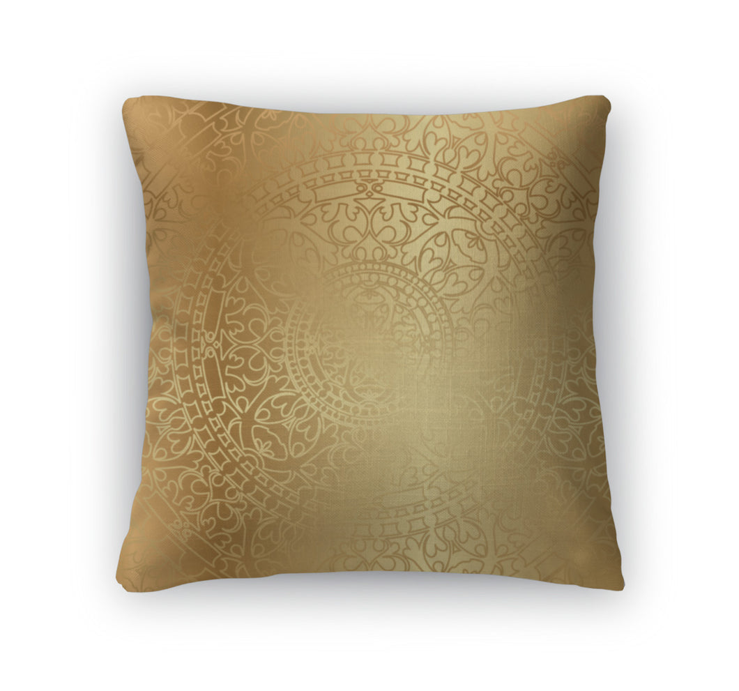 Throw Pillow, Gold With Oriental