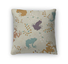 Throw Pillow, Pattern With Colored Frogs