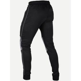 Men Zipper Detail Contrast Panel Pants