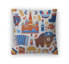 Throw Pillow, Russia Travel Pattern